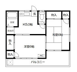 東京都府中市白糸台5丁目の賃貸アパートの間取り