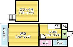 アップルハウス井堀B棟[203号室]の間取り