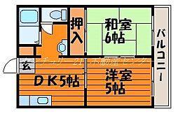 岡山県岡山市北区北方2丁目の賃貸アパートの間取り