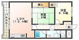 ウエストハイツP1[4階]の間取り