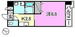 メゾンドール錦町2 2階1Kの間取り
