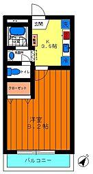 エスポワール赤塚[201号室]の間取り