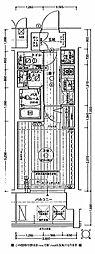 エステムコート難波WEST-SIDEVIIグローブ 3階1Kの間取り