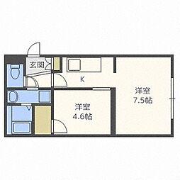 クレセント新札幌[302号室]の間取り