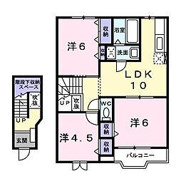 静岡県浜松市浜北区内野の賃貸アパートの間取り