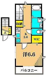 JR京浜東北・根岸線 大井町駅 徒歩6分の賃貸アパート 2階1Kの間取り