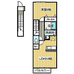 愛知県名古屋市中川区東中島町5丁目の賃貸アパートの間取り