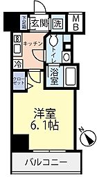 東急東横線 反町駅 徒歩3分の賃貸マンション 3階1Kの間取り