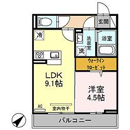 新潟県新潟市西区寺尾前通の賃貸アパートの間取り