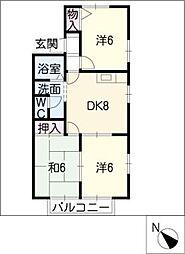 ハピネス12A[1階]の間取り