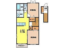 ポワールII[2階]の間取り