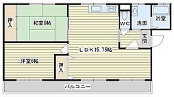 大阪府高槻市西町の賃貸マンションの間取り