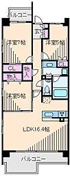 神奈川県横浜市港北区綱島上町の賃貸マンションの間取り
