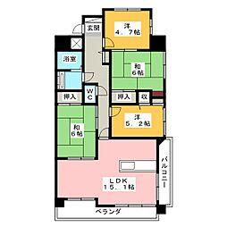 ふぁみーゆ中島田[4階]の間取り