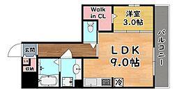 阪急神戸本線 六甲駅 徒歩13分の賃貸アパート 3階1LDKの間取り