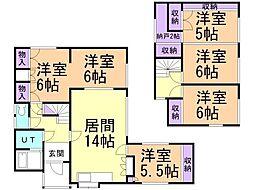 バス くしろバス興津小学校下車 徒歩3分の賃貸一戸建て 1階6SLDKの間取り