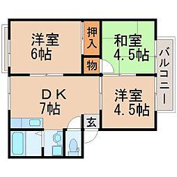兵庫県西宮市鳴尾町5丁目の賃貸アパートの間取り