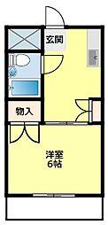 名鉄豊田線 浄水駅 4.2kmの賃貸アパート 2階1Kの間取り
