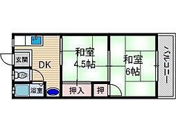 園田ハイムA棟[1階]の間取り