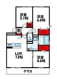 D-room阿恵I[1階]の間取り
