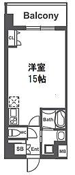 TAKUTOSTAY NAMBAEBISWEST 11階ワンルームの間取り