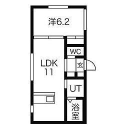 札幌市営南北線 幌平橋駅 徒歩4分の賃貸マンション 2階1LDKの間取り