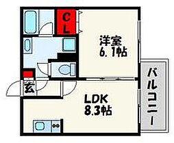 ビータコモダ博多[9階]の間取り