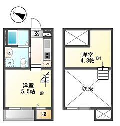 愛知県名古屋市中村区京田町3の賃貸アパートの間取り