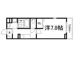 JR奈良線 新田駅 徒歩6分の賃貸アパート 2階1Kの間取り