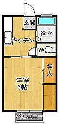 パナハイツ夙川[2階]の間取り
