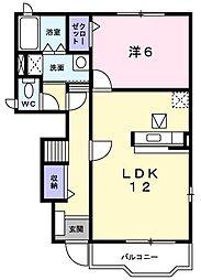 なかなか住宅[101号室]の間取り
