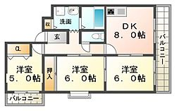第9カシノハイツ[2階]の間取り