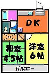 千葉県千葉市花見川区花園3丁目の賃貸アパートの間取り