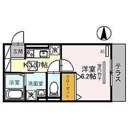 埼玉高速鉄道 川口元郷駅 徒歩9分の賃貸アパート 1階1Kの間取り