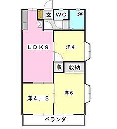 フローラKIKU B[3階]の間取り