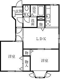 東京都清瀬市下清戸2丁目の賃貸アパートの間取り