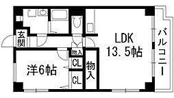 兵庫県宝塚市売布2丁目の賃貸マンションの間取り