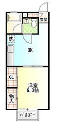 コーポ西湘II[202号室]の間取り