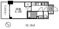 エステムコート神戸グランスタイル 11階1Kの間取り