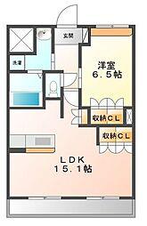 コーポサカシタD棟[1階]の間取り