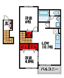 福岡県遠賀郡水巻町二西1丁目の賃貸アパートの間取り
