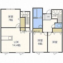 JR学園都市線 篠路駅 5.6kmの賃貸一戸建て 1階3LDKの間取り
