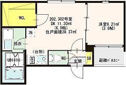 仮称:ハーモニ−テラス・東大阪市荒川三丁目A[202号室]の間取り