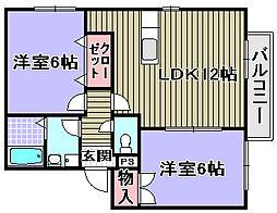 オアゼ・二色1・2番館[1-203号室]の間取り
