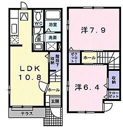 東京都八王子市七国2丁目の賃貸アパートの間取り
