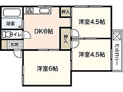 コーポ新田[1階]の間取り