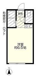 JR中央線 国分寺駅 バス7分 京王ストア下車 徒歩6分の賃貸アパート 1階ワンルームの間取り