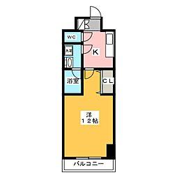 サンライズ宇都宮 5階1Kの間取り