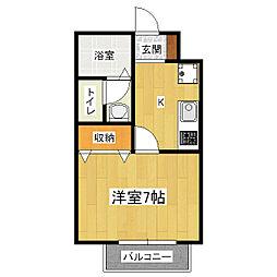 京都府京都市山科区御陵久保町の賃貸アパートの間取り