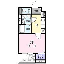小田急小田原線 本厚木駅 徒歩8分の賃貸マンション 1階1Kの間取り